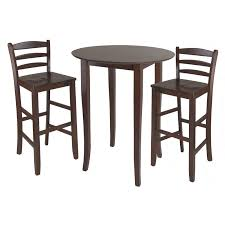 winsome lynwood 3 piece drop leaf pub set with rush seat stools