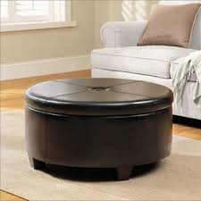 large round leather ottoman overstock com winston large round button top storage ottoman