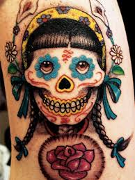 dia de los muertos lady skull tattoo design tattoos book