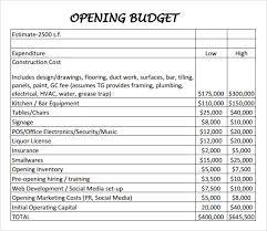 restaurant budget sample restaurant budget template usages of