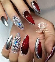 metallic silver red rhinestone nails nailart design heart nails