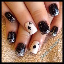 black shellac glitter nails gel nails ace of spades nail art