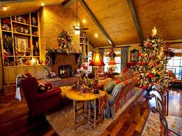 Holiday Decorated Homes by Interior Decoration Interior Warm Attic Christmas Living Room