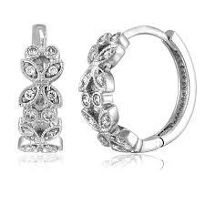 huggie earring sterling silver cubic zirconia cz milgrain deco huggie