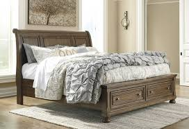 King Sleigh Bed Flynnter Medium Brown King Sleigh Bed With Storage B719 78