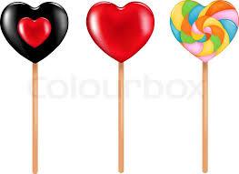 heart lollipop three heart shape lollipops black and colorful swirl stock
