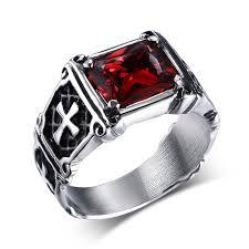 metal stone rings images Red big stone punk style cross rings metal titanium steel gothic jpg