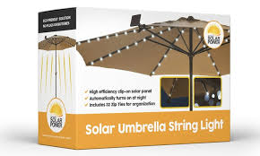 Patio Umbrella String Lights Solar Patio Umbrella Led String Lights 1 2 Or 3 Pack Groupon