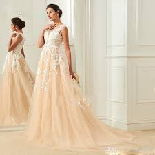 highstreet wedding dresses discount online lace applique chagne wedding dress illusion