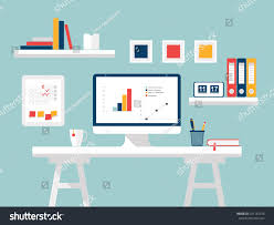 home design desktop home office white furniture accessories flat stock vector