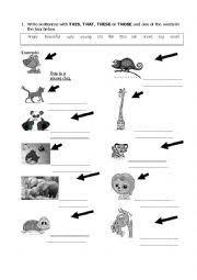 worksheet demonstratives adjectives