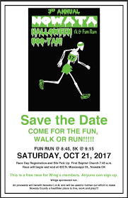 save the date for the 3rd annual nowata halloween boo yah 5k u0026 fun
