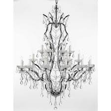 Crystal And Black Chandelier Gallery Rococo 19th C 25 Light Black Wrought Iron And Crystal