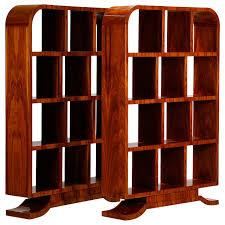Walnut Bookshelves Pair Of Art Deco Walnut Shelf Units At 1stdibs