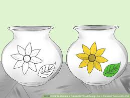 Design For Vase Painting How To Create A Raised M U2010seal Design For A Painted Terracotta Pot