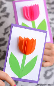 day card 3d paper tulip card simple s day card idea easy peasy and