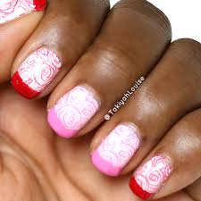 rose french tip valentine u0027s nails nail art by takiyahlouise