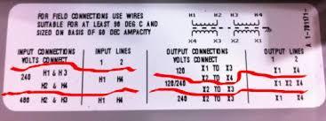 480 input 240 120 output transformer wiring mystery