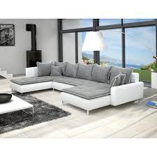 canape blanc noir canapé panoramique en u dante 7 places