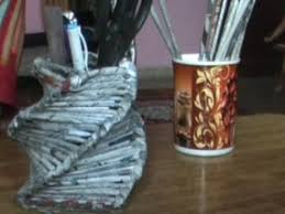 use waste newspaper to make beautiful pen holder youtube
