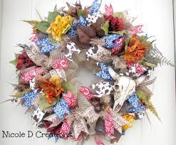 deco mesh wreath western wreath summer wreath home decor wreath