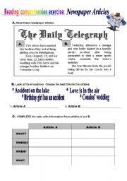 worksheet newspaper articles