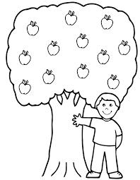 imprime ce coloriage pour les enfants arbres pommes