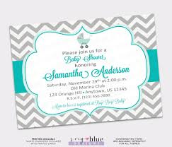 turquoise aqua grey chevron baby shower invitation chevron