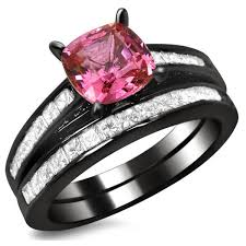 overstock wedding ring sets noori 14k black gold 1ct tdw cushion cut diamond and pink sapphire