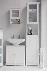 Freestanding White Bathroom Furniture Tallboy Bathroom Cabinet Hallway Storage Unit In White Stow
