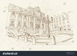 sketch trevi fountain largest most famous stock vector 408406483