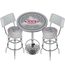 coors light bar stools sale trademark global coors light game room combo 3 piece pub table set