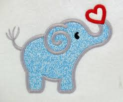 elephant and heart applique machine embroidery design