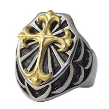 stainless steel mens rings gold cross shield ring stainless steel band