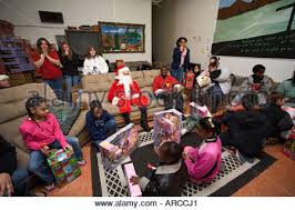 gifts for low income children in detroit stock photo