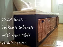ikea hack bookcase to bench with a removable cushion cover