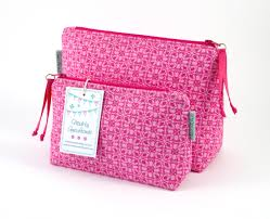 handmade pink geometric print ladies small and large makeup bags