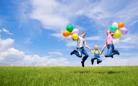 download wallpaper 1680x1050 family children balloons nature