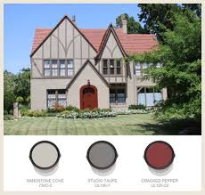 exterior paint scheme for house with red roof options shown for