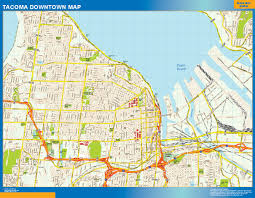 Usa Wall Map by Tacoma Downtown Map Netmaps Usa Wall Maps Shop Online
