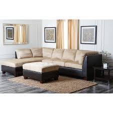 Beige Sectional Sofas L Shaped Satin Sectional Which Equipped With Tufted