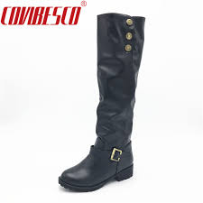 comfortable motorcycle riding boots new arrival fashion women knee high boots low heels comfortable