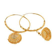 gold jhumka hoop earrings 22k gold enamel jhumka hoops raj jewels