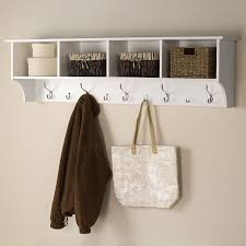 Bathroom Shelf With Hooks Shop Prepac Furniture White 9 Hook Mounted Coat Rack At Lowes Com