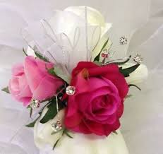 pink corsage silk wedding wrist corsage hot pink roses diamante
