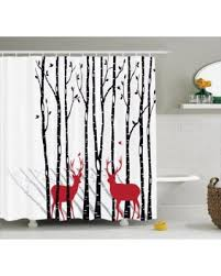 Shower Curtains With Red Cyber Monday Special Antlers Decor Shower Curtain Set Deer Tree