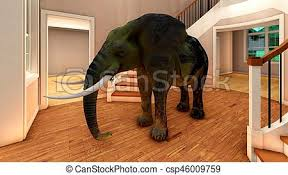 elephant in the living room elephant in the living room 3d rendering elephant in the stock