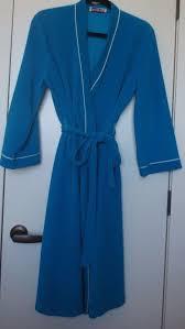 Vanity Fair Housecoat Vanity Fair Womens Turquoise Blue White Piping Velour Tie Robe