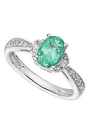 emerald rings uk 18ct white gold emerald and 0 15 carat diamond ring