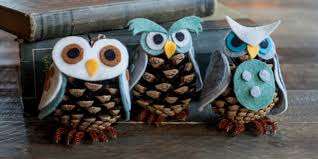 owl ornaments felt and owl pinecone craft how to make felt owl pinecones